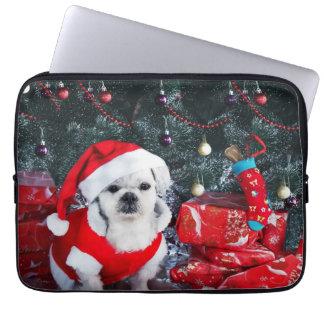 Sleeve Para Laptop Papai noel da caniche - cão do Natal - cão de