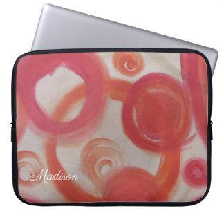 Sleeve Para Laptop Pintura abstrata do rosa e da laranja