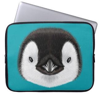 Sleeve Para Laptop Retrato ilustrado do pintainho do pinguim de