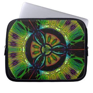 Sleeve Para Laptop Símbolo psicadélico do bio-perigo (ou o que u