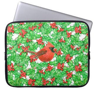 Sleeve Para Laptop Teste padrão da aguarela da baga do cardeal e do