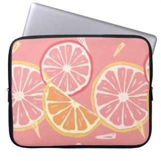 Sleeve Para Laptop Teste padrão tropical da toranja cor-de-rosa e do