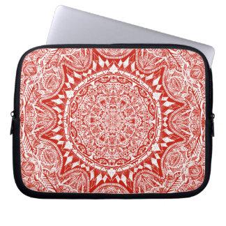 Sleeve Para Laptop Teste padrão vermelho da mandala
