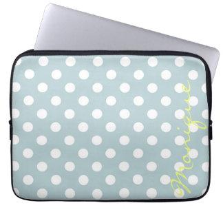 Sleeve Para Laptop turquesa pastel & pontos brancos com nome