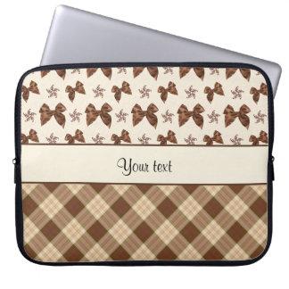 Sleeve Para Laptop Verificações de Brown & arcos bonitos