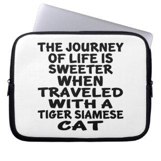 Sleeve Para Laptop Viajado com o gato siamese do tigre