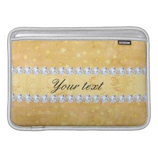 Sleeve Para MacBook Air A folha de ouro da aguarela Stars diamantes