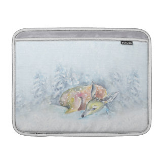 Sleeve Para MacBook Air Cervos do inverno da aguarela na neve