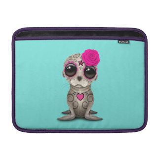 Sleeve Para MacBook Air Dia cor-de-rosa do leão de mar inoperante do bebê