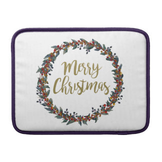 Sleeve Para MacBook Air Grinalda da aguarela - Feliz Natal - ramos