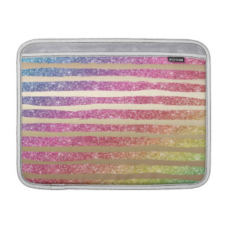 Sleeve Para MacBook Air Listras do ouro do brilho do arco-íris do falso
