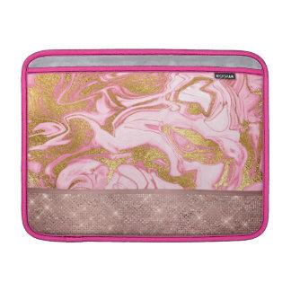 Sleeve Para MacBook Air Mármore cor-de-rosa do brilho e da faísca do ouro