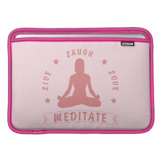 Sleeve Para MacBook Air O amor vivo do riso Meditate texto fêmea (o rosa)