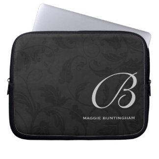 "Sleeve Para Notebook 10"" damasco preto Monogrammed"