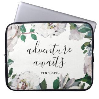 Sleeve Para Notebook A aventura floral bonito espera com nome