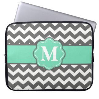 Sleeve Para Notebook A bolsa de laptop do monograma de Chevron das cinz