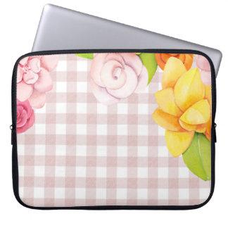 Sleeve Para Notebook A flor bonito floresce rosas em verificações