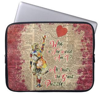 Sleeve Para Notebook Alice na bolsa de laptop do vintage das citações