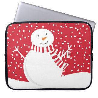 Sleeve Para Notebook boneco de neve vermelho e branco contemporâneo