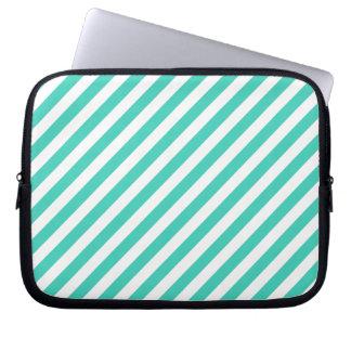 Sleeve Para Notebook Cerceta e teste padrão diagonal branco das listras