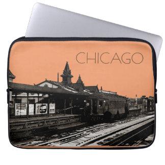 Sleeve Para Notebook Chicago L metro 1950 da fotografia do Sepia da