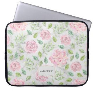 Sleeve Para Notebook Coram as flores da aguarela no mármore do falso