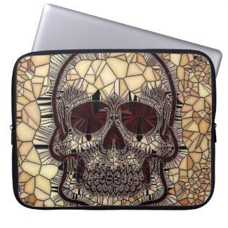 Sleeve Para Notebook Crânio de vidro do mosaico, bege