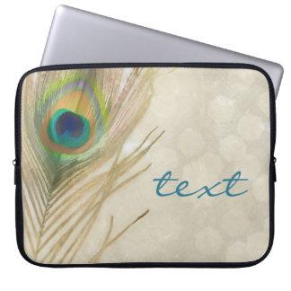 Sleeve Para Notebook Da pena exótica do pavão do ouro chique elegante