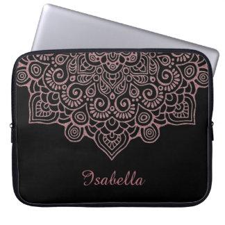 Sleeve Para Notebook Do ouro cor-de-rosa do ouro do falso PRETO