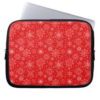 Sleeve Para Notebook Flocos de neve brancos no vermelho do Natal