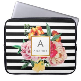 Sleeve Para Notebook Flores preto e branco da peônia da aguarela das