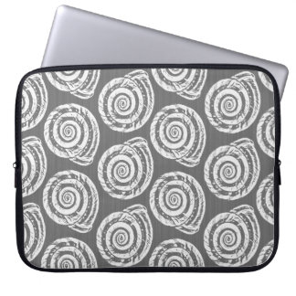 Sleeve Para Notebook Impressão, cinzas/cinza e branco espirais de bloco