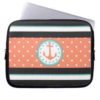 Sleeve Para Notebook Listras & âncora náuticas (coral/turquesa)
