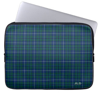 Sleeve Para Notebook Monograma azul e verde do Tartan de Douglas do clã