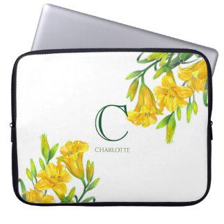 Sleeve Para Notebook Monograma floral amarelo da arte dos lírios de dia