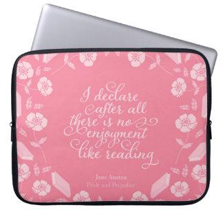 Sleeve Para Notebook Orgulho Bookish floral & preconceito de Jane
