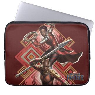 Sleeve Para Notebook Pantera preta   Nakia & gráfico de Okoye Wakandan