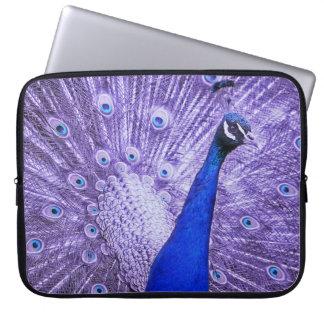 Sleeve Para Notebook Pavão azul, penas roxas