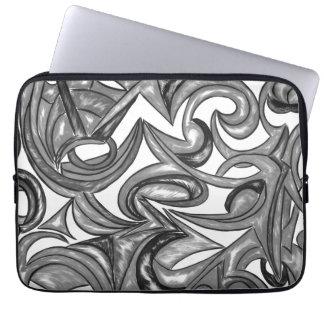 Sleeve Para Notebook Plumagem do pavão - arte abstracta pintado mão