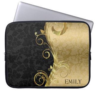 Sleeve Para Notebook Preto e damasco e redemoinhos do ouro