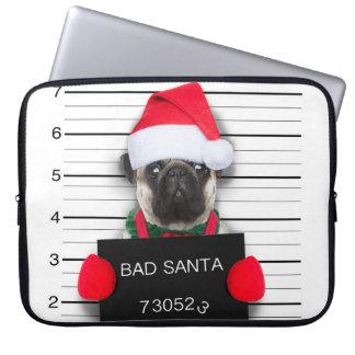 Sleeve Para Notebook Pug do Natal - cão do mugshot - pug do papai noel