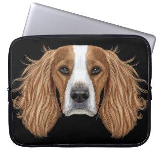 Sleeve Para Notebook Retrato ilustrado do Spaniel. de Springer inglês