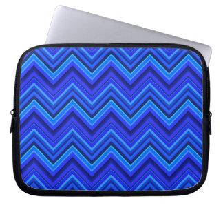 Sleeve Para Notebook Teste padrão de ziguezague das listras azuis