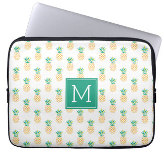 Sleeve Para Notebook Teste padrão Monogrammed dos abacaxis
