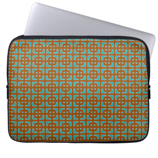 Sleeve Para Notebook Teste padrão quadrado azul de Brown
