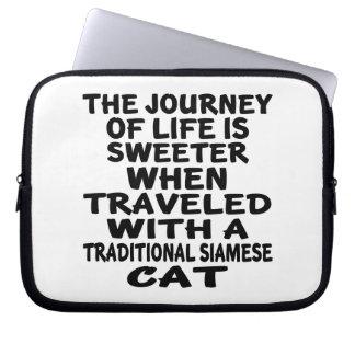 Sleeve Para Notebook Viajado com o gato Siamese tradicional