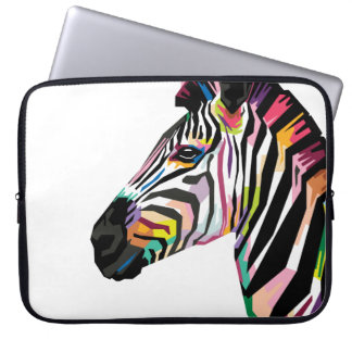 Sleeve Para Notebook Zebra colorida do pop art no fundo branco