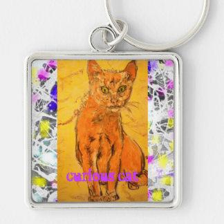 slogan curioso do gotejamento do gato chaveiro quadrado na cor prata
