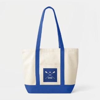 Slogan de inspiração do remo e azuis marinhos sacola tote impulse