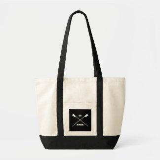 Slogan de inspiração do remo e preto cruzado dos sacola tote impulse